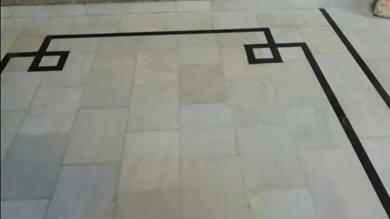 White Marble Black Border Design - YouTube