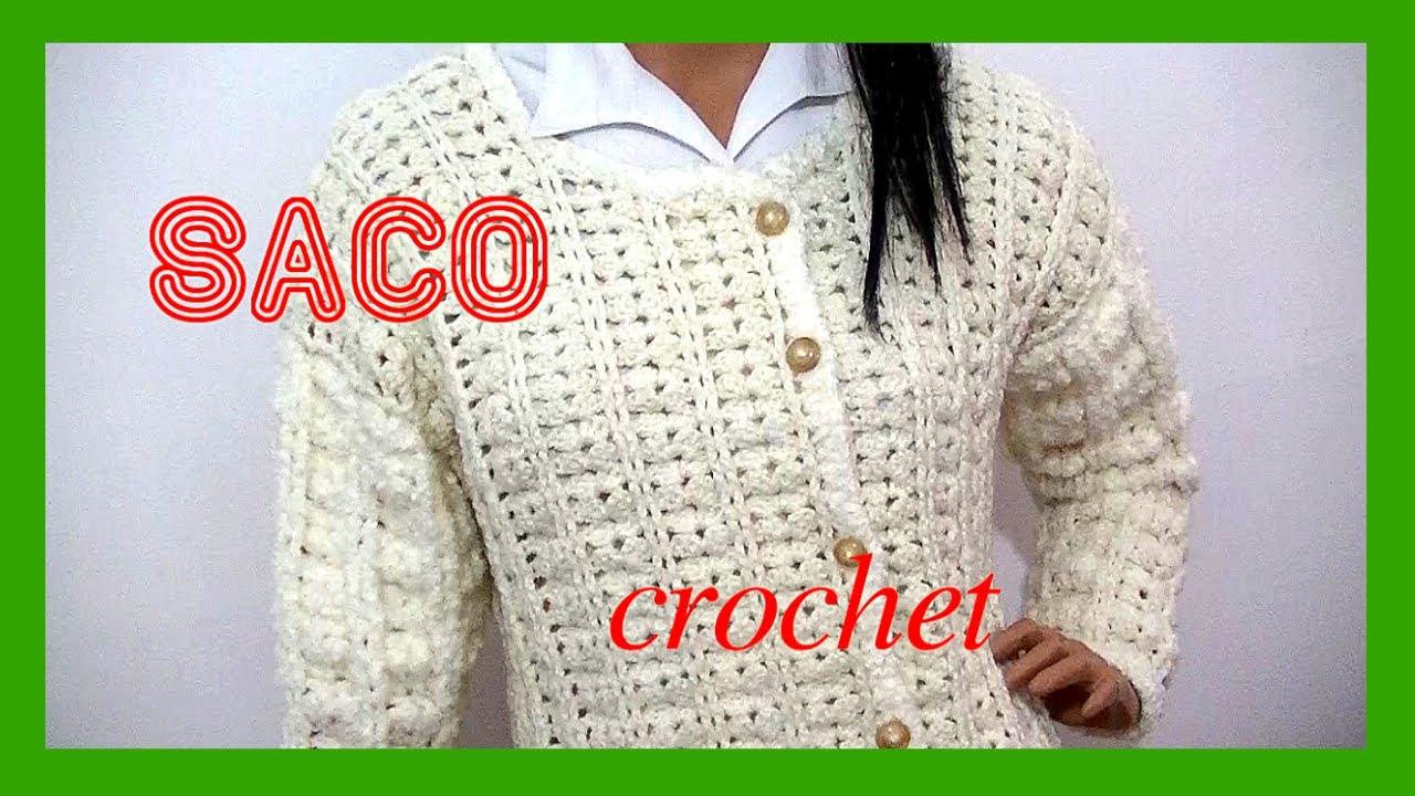 SACO Abanico en tejido #crochet o ganchillo talle 44 tutorial paso a ...