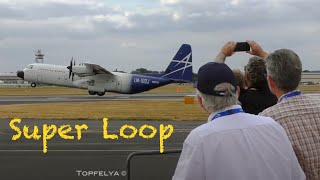 Cargo airplane Does a loop :  What A Thrilling View ! Hercules C-130