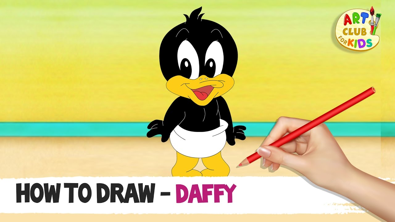 How to draw Baby Daffy Duck   Baby Looney Tunes   Cartoon ...