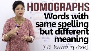 homographs words having same spellings but different meaning english pronunciation lesson