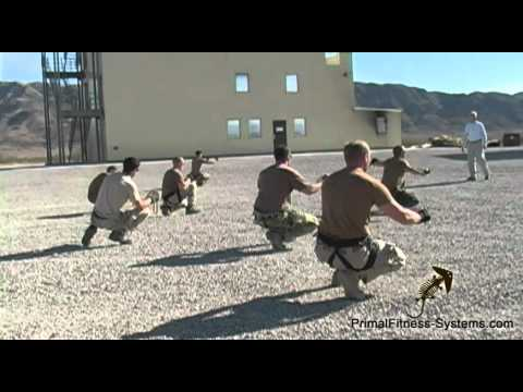 Military Duck Walk Band Pull Aparts - Multi-task Exercise - Primal Fitness Systems