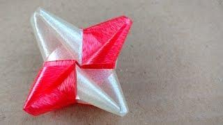 วิธีพับเหรียญโปรยทาน ดอกเข็ม/Diy flower ribbon.