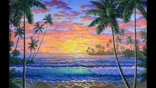 cara melukis pantai tropis saat matahari terbenam dengan menggunakan akrilik di atas kanvas