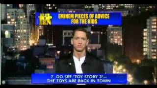 vuclip Eminem at David Letterman's Late Show: Top 10 Pieces of Advice For The Kids