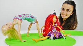 Barbie ve Torelai fit yarışması yapıyorlar. Spor oyunları