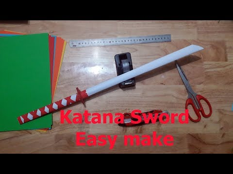 [DIY] How to make a Katana Sword with Paper❤ Japanese Katana Sword
