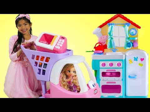 Emma Pretend Play with Baby Rapunzel Doll & Sings Johny Johny Yes Papa Song