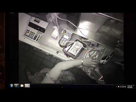 Thief stealing money from a local Santa Barbara restaurant.  Burglary.  Caught on camera