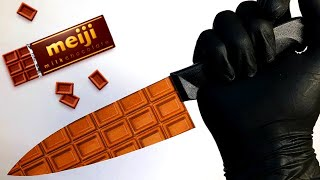 Stop Motion 商品紹介 /明治 ミルクチョコレートで包丁を作ってみたASMR