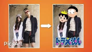 [Hướng dẫn PicsArt] - Ghép Avatar Nobita, Xuka vào ảnh