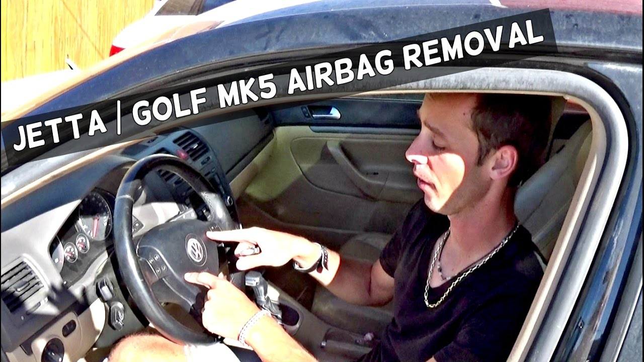 VW JETTA GOLF MK5 DRIVER AIRBAG REMOVAL | STEERING WHEEL AIR BAG 2006 2007 2008 2009 - YouTube