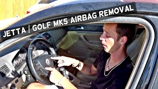 VW JETTA GOLF MK5 DRIVER AIRBAG REMOVAL | STEERING WHEEL AIR BAG 2006 2007 2008 2009