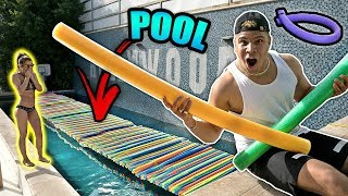 POOL NOODLE BRIDGE CHALLENGE WITH GIRLFRIEND (IT ACTUALLY WORKED)