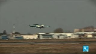 Electric plane (E-Fan) takes off in France