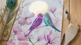 Рисование акварель | Ускоренное видео | Бесплатные уроки рисования | Painting watercolor free
