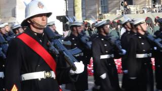 Royal Marines and Navy leaving the Cenotaph Whitehall 2016