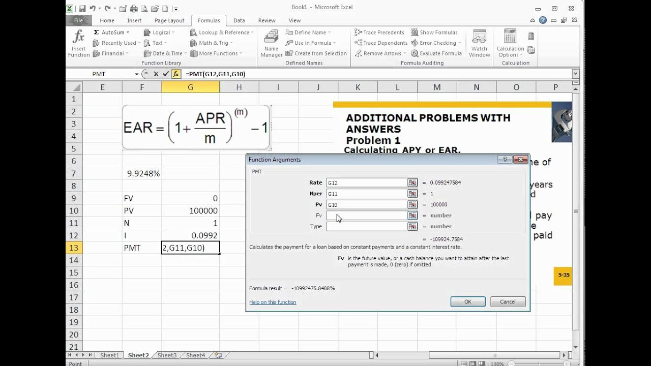calculating apy or ear using excel