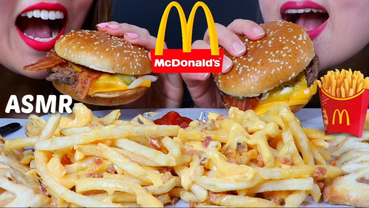 Asmr Mcdonalds Cheesy Bacon Fries Bacon Cheeseburgers Apple Pie Kim Liz Asmr