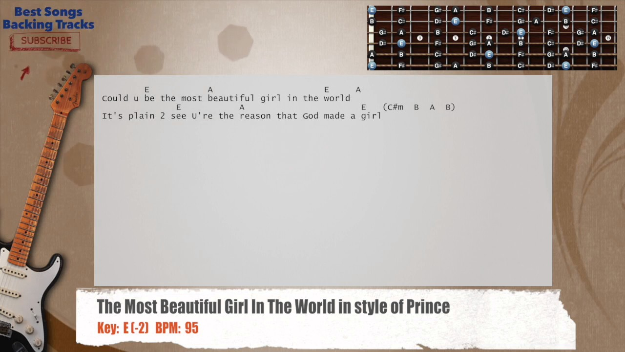 The Most Beautiful Girl In The World Guitar Backing Track With