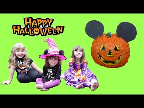 NEW 2015 Halloween Surprise Pinata Fun video for KIDS Mickey Mouse Shopkins Kinder Surprise Eggs
