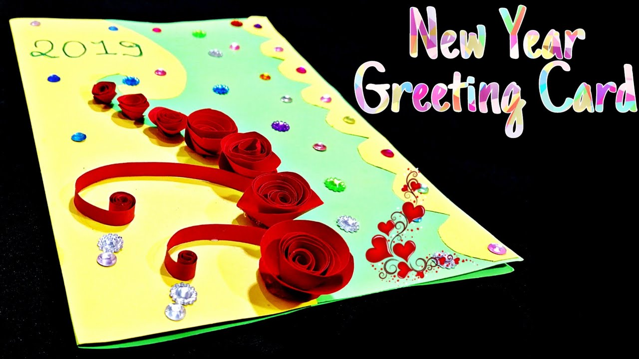 New year greeting card  How to make greeting card for New year  New year  card making handmade