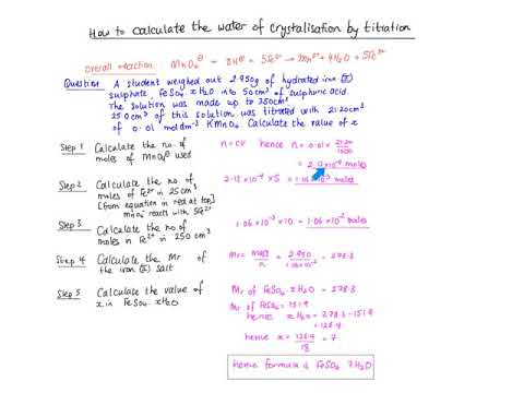 How To Calculate The Water Of Crystalisation By Titration