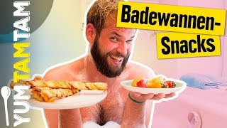 Die perfekten SNACKS für die BADEWANNE! // Pizzasticks & gefüllte Mini-Paprika // #yumtamtam