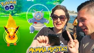 MY MOM CATCHING RARE POKEMON! FIRST EVER Pokemon Go Hunt with Momma Mystic!