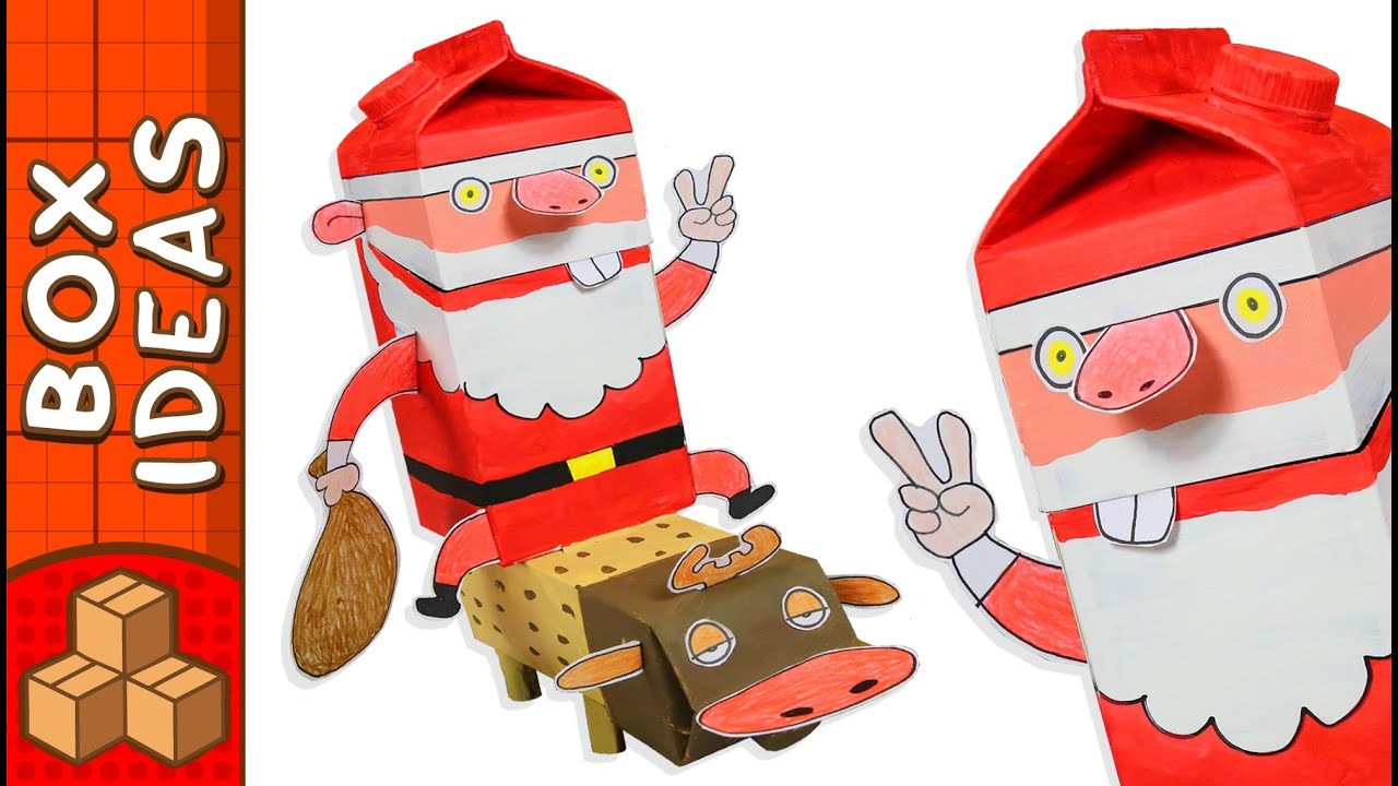 Cardboard santa and rudolph diy christmas crafts for kids youtube solutioingenieria Images