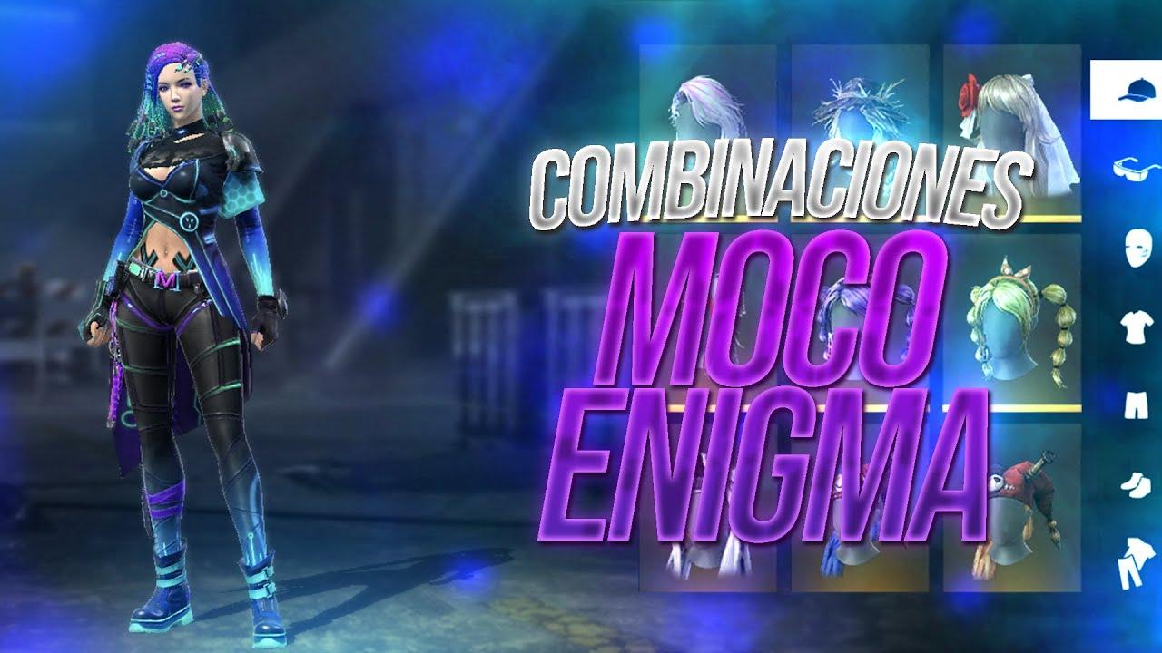 LAS MEJORES COMBINACIONES con EL SET MOCO ENIGMA - FREE FIRE   Mateo xD