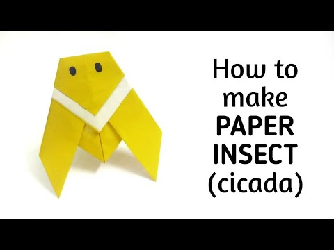 How to make an origami paper insect cicada origami for Craft work with paper folding