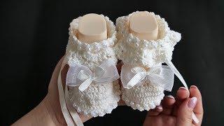 Крестильные пинетки крючком | Baptismal booties crochet