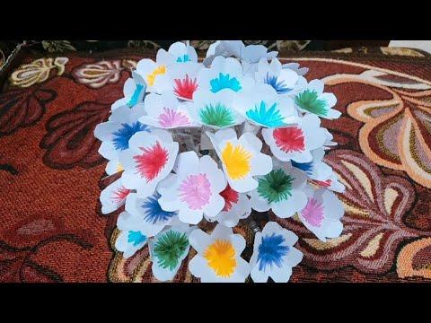 DIY/paper flower guldasta at home with waste plastic bottel... esay to make