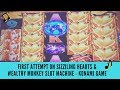 FIRST ATTEMPT ON SIZZILING HEARTS and WEALTHY MONKEY SLOT MACHINE - KONAMI GAME - SunFlower Slots