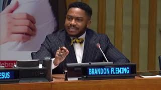 Brandon Fleming speaks at United Nations General Assembly