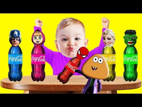 Thumbnail: Bad Baby Crying and Pou Coca Cola Superhero Bottles Colors Learn Finger Family Collection