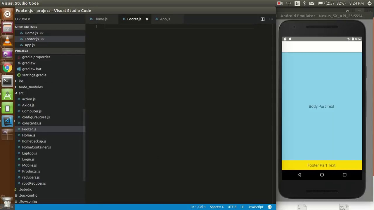 React-Native tutorial #25 how to make fixed footer for all screen