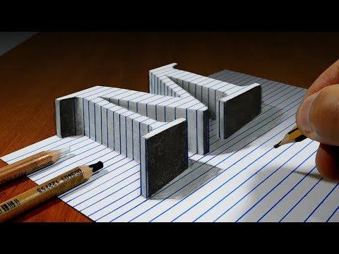 Draw a Letter M on Line Paper   3D Trick Art