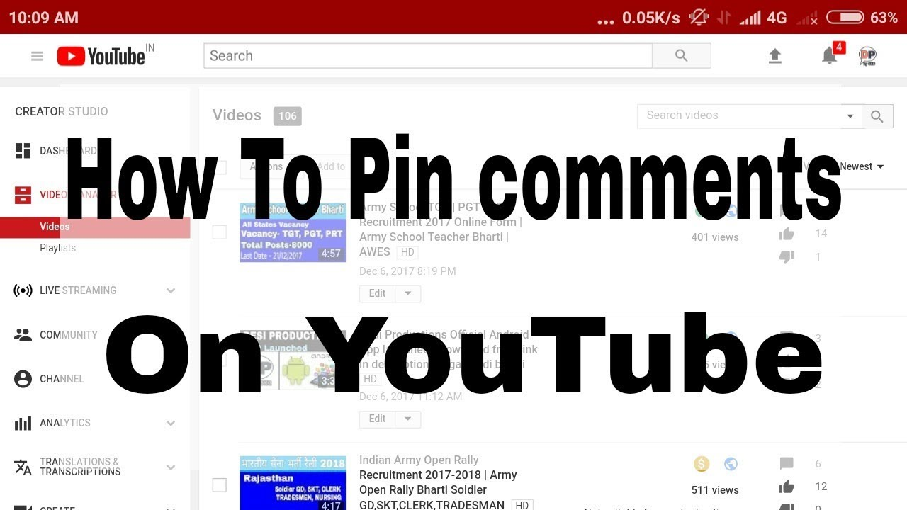 how to find your comment on a youtube video