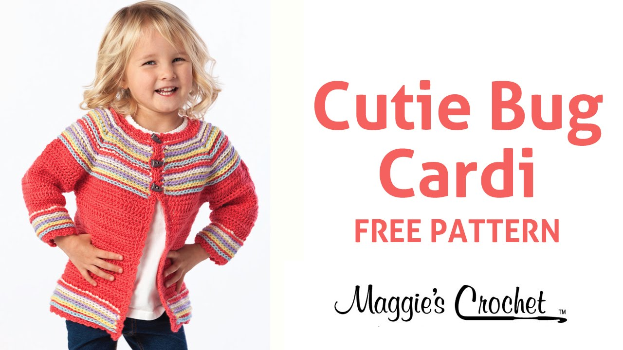 Cutie Bug Child\'s Cardigan Sweater Free Crochet Pattern - Right ...