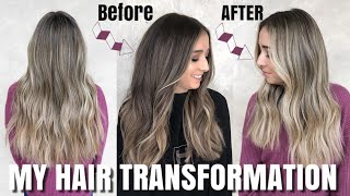MY HUGE HAIR TRANSFORMATION | GOING FROM BRUNETTE TO BLONDE | HABIT SALON