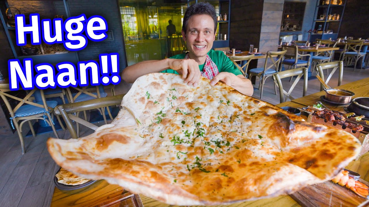Table Size Naan!! INDIAN FOOD - Giant Kebab Meal Cooked in the Tandoor!!