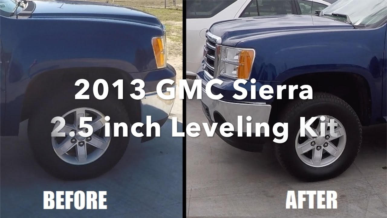 Gmc Sierra 1500 Leveling Kit Before And After >> 2013 GMC Sierra 2.5 inch Leveling Kit - YouTube