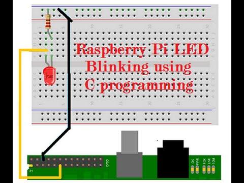 Raspberry Pi led blinking using c programming and wiringpi - YouTube