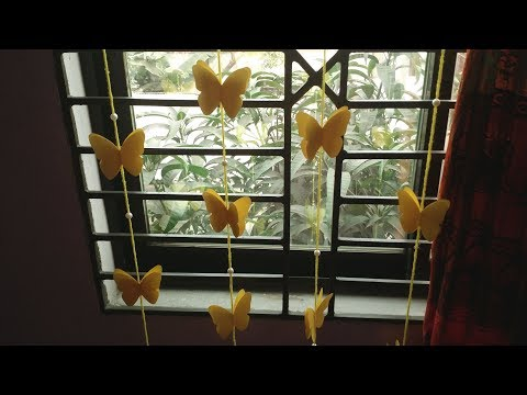 DIY : Butterfly Curtain for Window / Door!! How to Make Butterfly Hanging for Room/Home Decoration!!