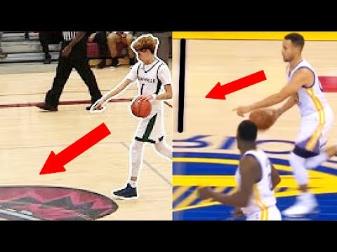 Stephen Curry Does LaMelo Ball Half Court Shot Challenge