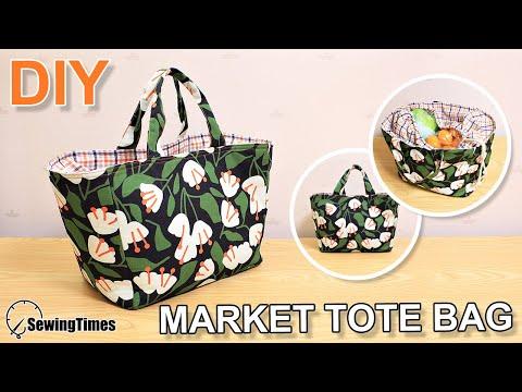 DIY MARKET TOTE BAG | Shopping Bag Sewing Tutorial | Basket bag [sewingtimes]
