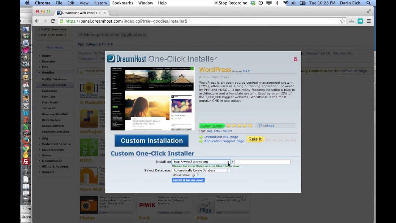 how to install wordpress on dreamhost manually