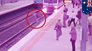 Train vs man: Stupid rail track crossing nearly kills Australian man - TomoNews